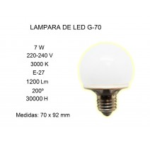 LÁMPARA DE LED G70 7W E27 3000K