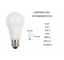 PACK 5 - LAMPARA STANDARD LED E27 9W 3000K FBRIGHT ECO