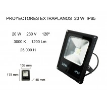 PROYECTOR LED EXTRAPLANO 20W 3000K