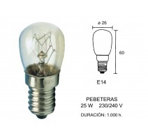 PACK 10 - LAMPARA PEBETERA E-14 25W (26 X 60)