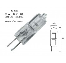 PACK 10 - LAMPARA HALOGENA 2 PIN 20W. 12V. 4200K.