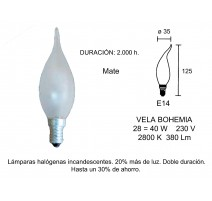 PACK 5 - LAMP.VELA DECORATIVA HALOG.INCAN. E14 28W equivalente 40W MATE