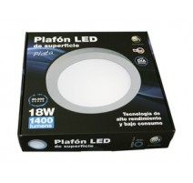 PLAFÓN LED DE SUPERFICIE, REDONDO, 18 W. COLOR BLANCO