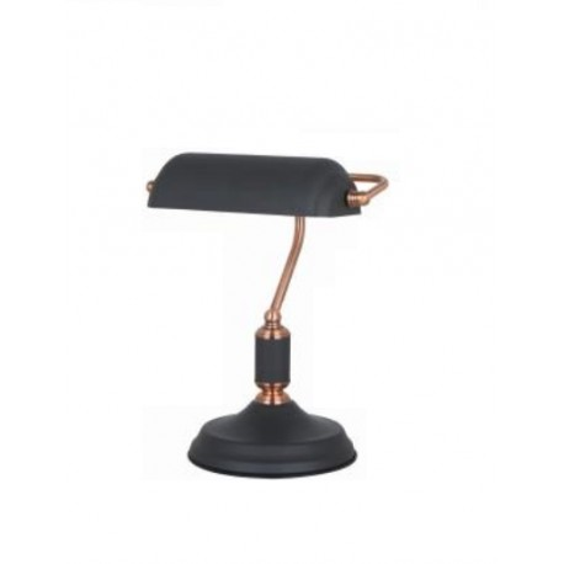 LAMPARA DE MESA CASQUILLO E27 COLOR NEGRO Y COBRE