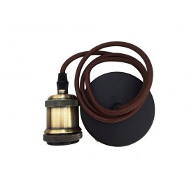 CONJUNTO PORTALAMPARAS CABLE FLORON MARRON